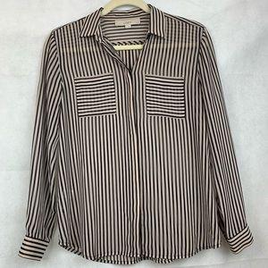 Loft beige and black striped sheer blouse